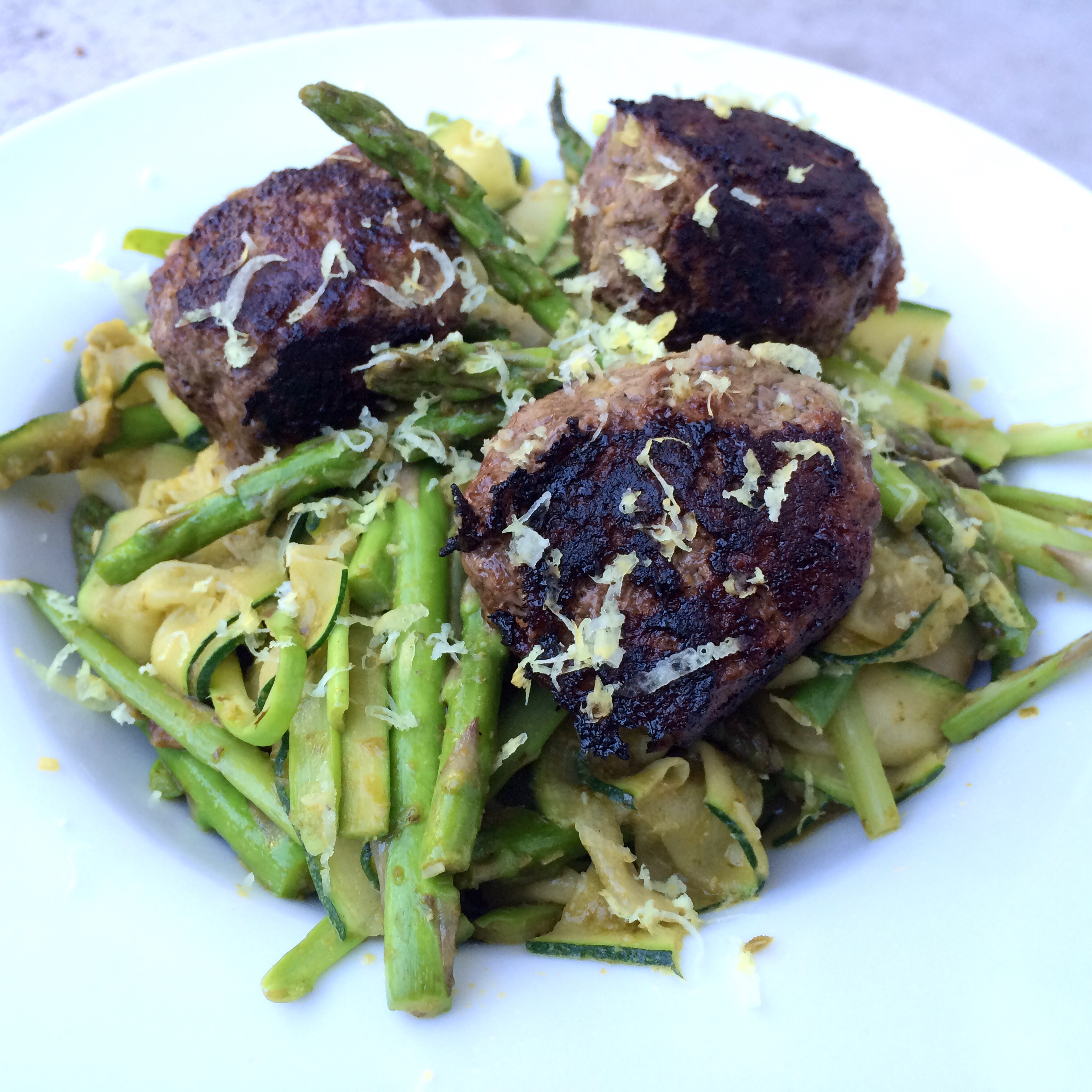 Bison Pesto Meatballs with Zucchini Ribbons | My Engineered Nutrition