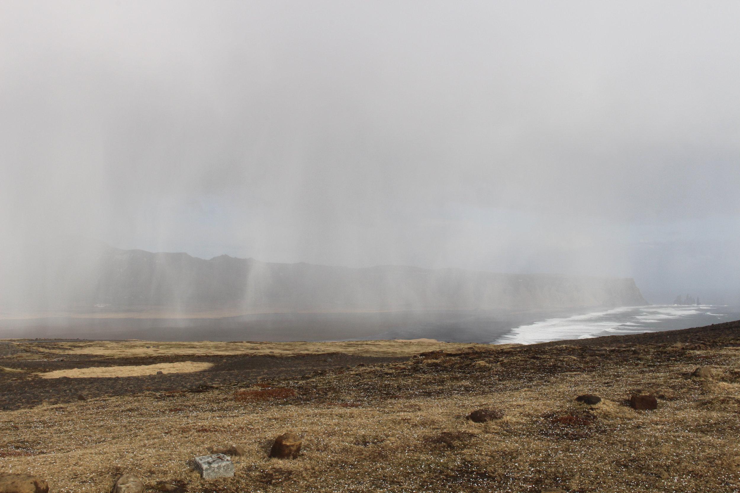 Hail storm over Reynisfjara