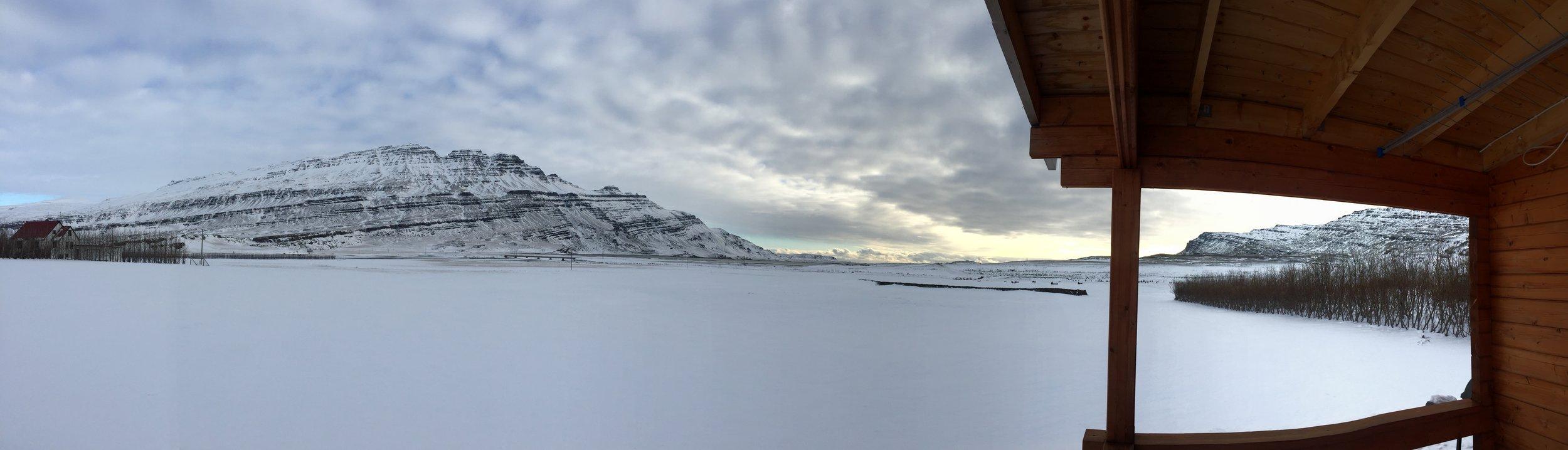 Morning snow at Bragðavellir Cottage