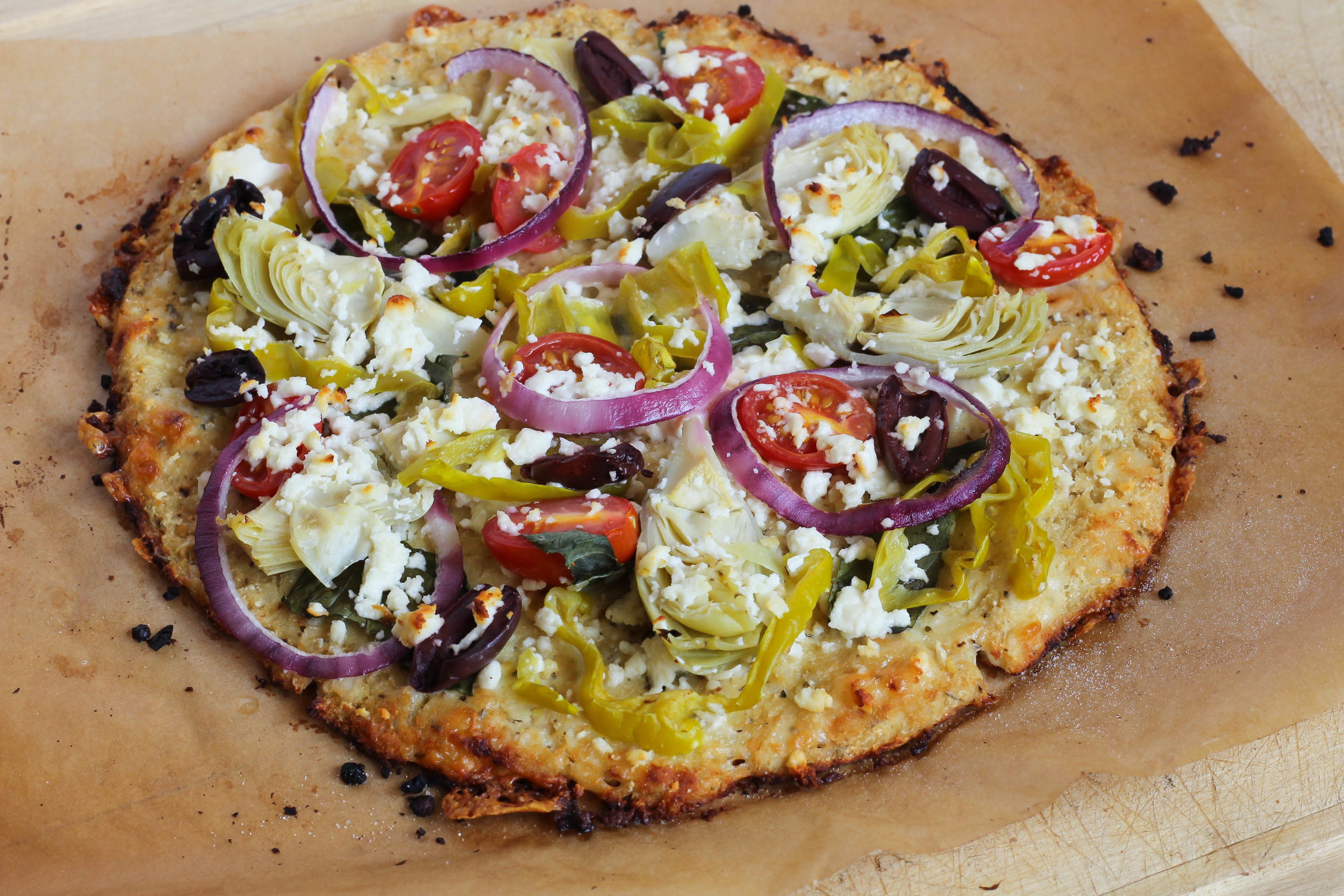 Greek Cauliflower Crust Pizza | My Engineered Nutrition