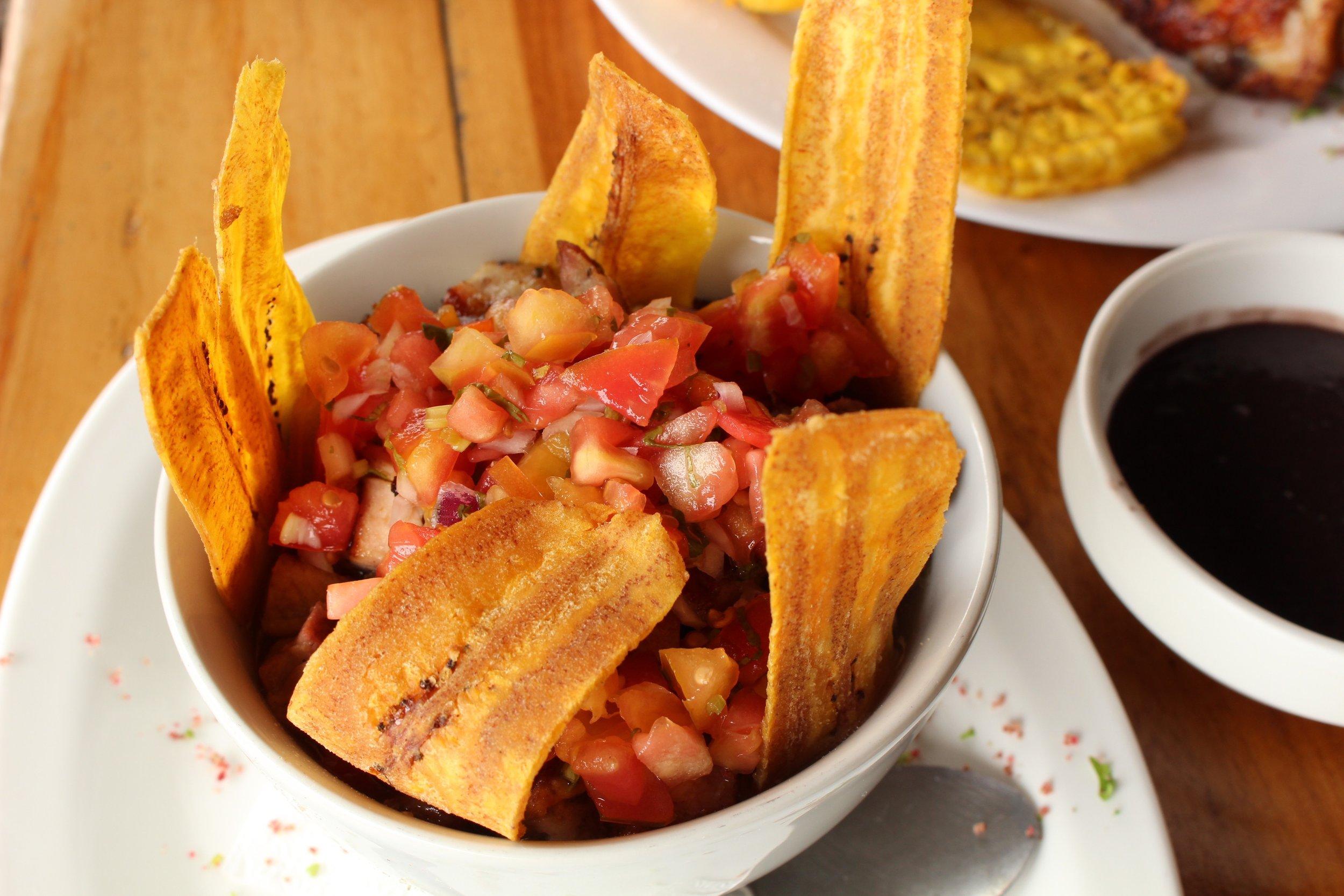 Rice, Beans, Pork, Pico de Gallo and Fried Plantains Chips