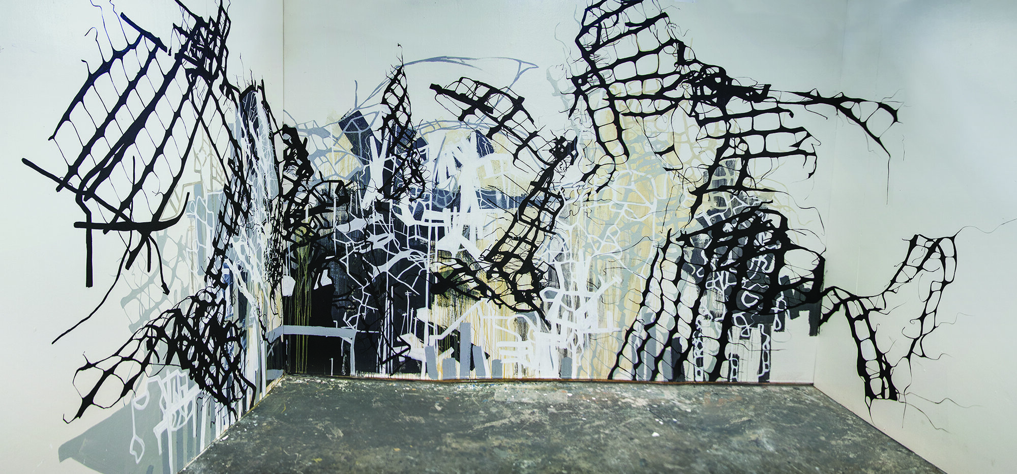 """System of Entropy  Acrylic and latex paint on drywall 198"""" x 96"""" 2014/15   NFS"""