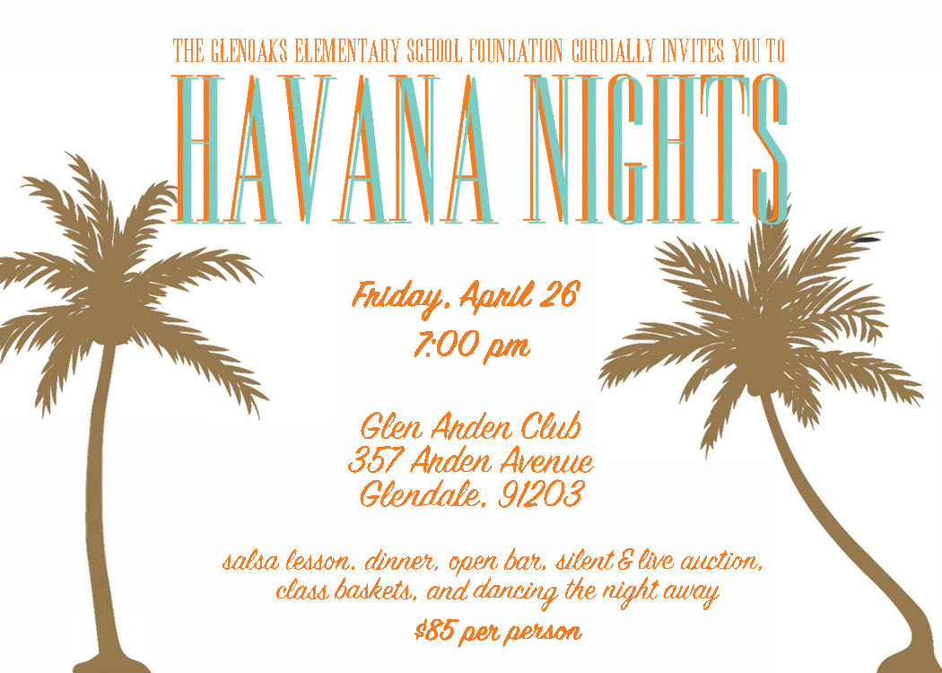 Gala: Spring - April 26, 2019This is Glenoaks Elementary School's signature event of the year. A night to hire a babysitter and invite your friends and neighbors for drinks, appetizers, dinner and splendor! With live entertainment, dancing, live and silent auction, and spectacular decor, this is one event YOU DO NOT WANT TO MISS.Want to pay for tickets to the Gala online? Click the Gala button on the Home Page, pay via Pay Pal or Credit Card. Include a note with your name and number of tickets in the Comments section. Check out the Sponsorship Levels!