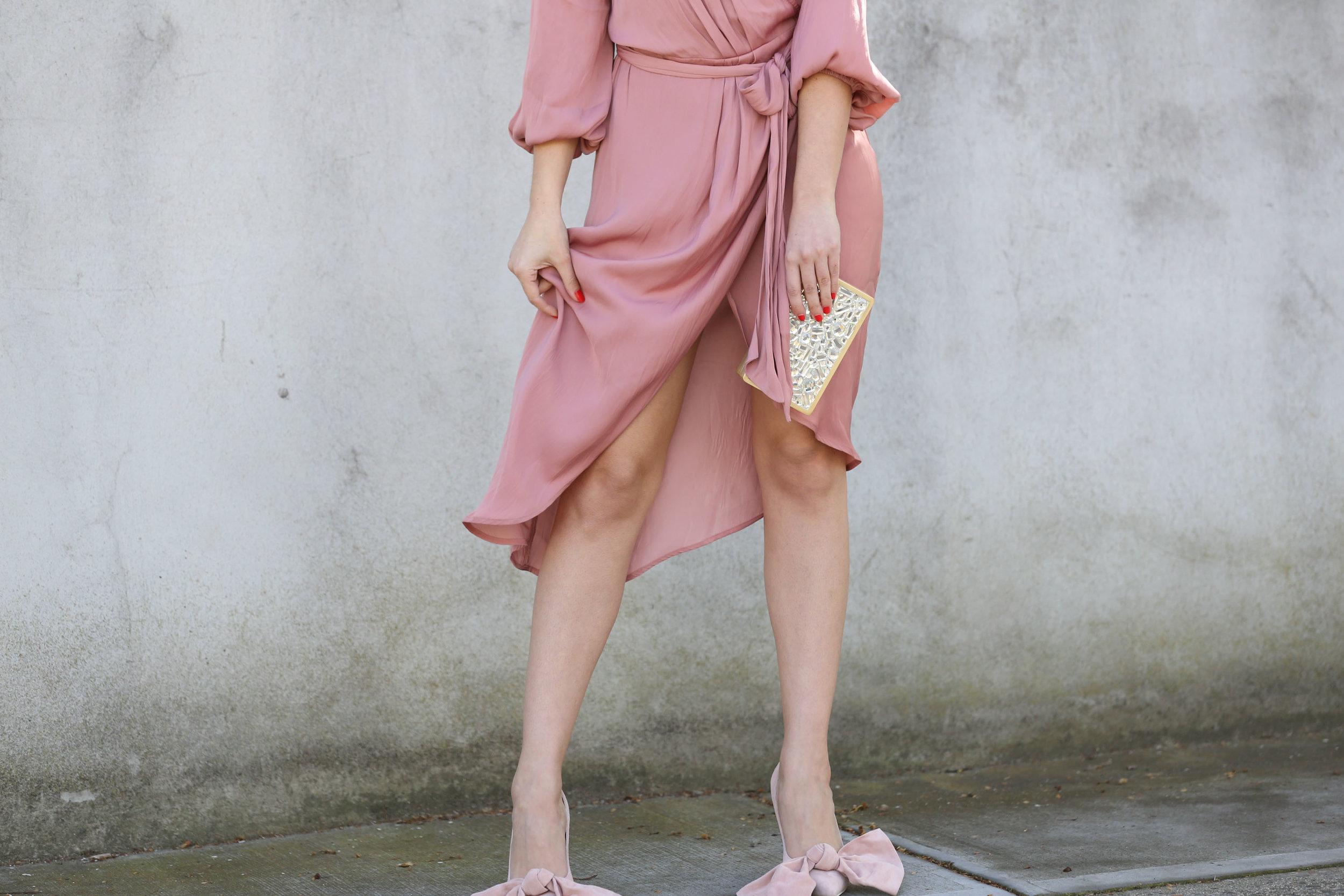 ATHENA BLUSH WRAP DRESS ON WWW.FRIENDINFASHION.COM.AU