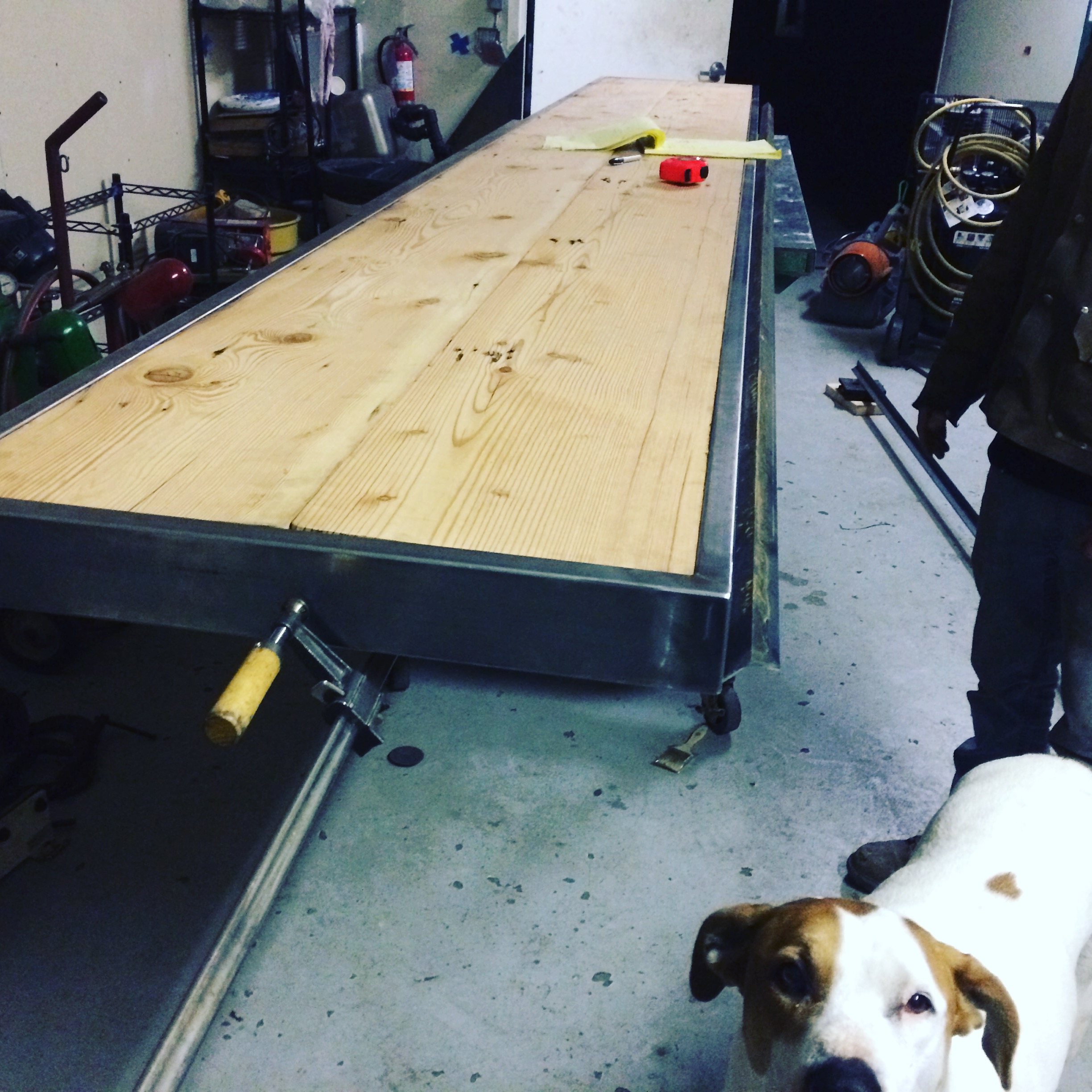 Steel and reclaimed wood coworking counter getting the finishing touches (and Jib the shop dog)!