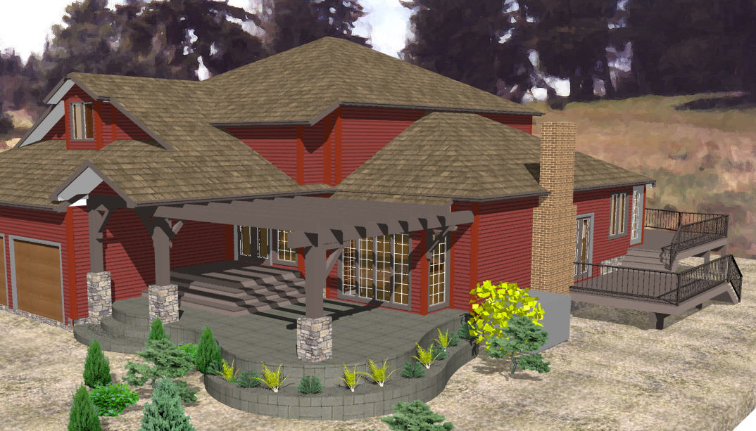 Open expansive front porch to include the surrounding landscaping.