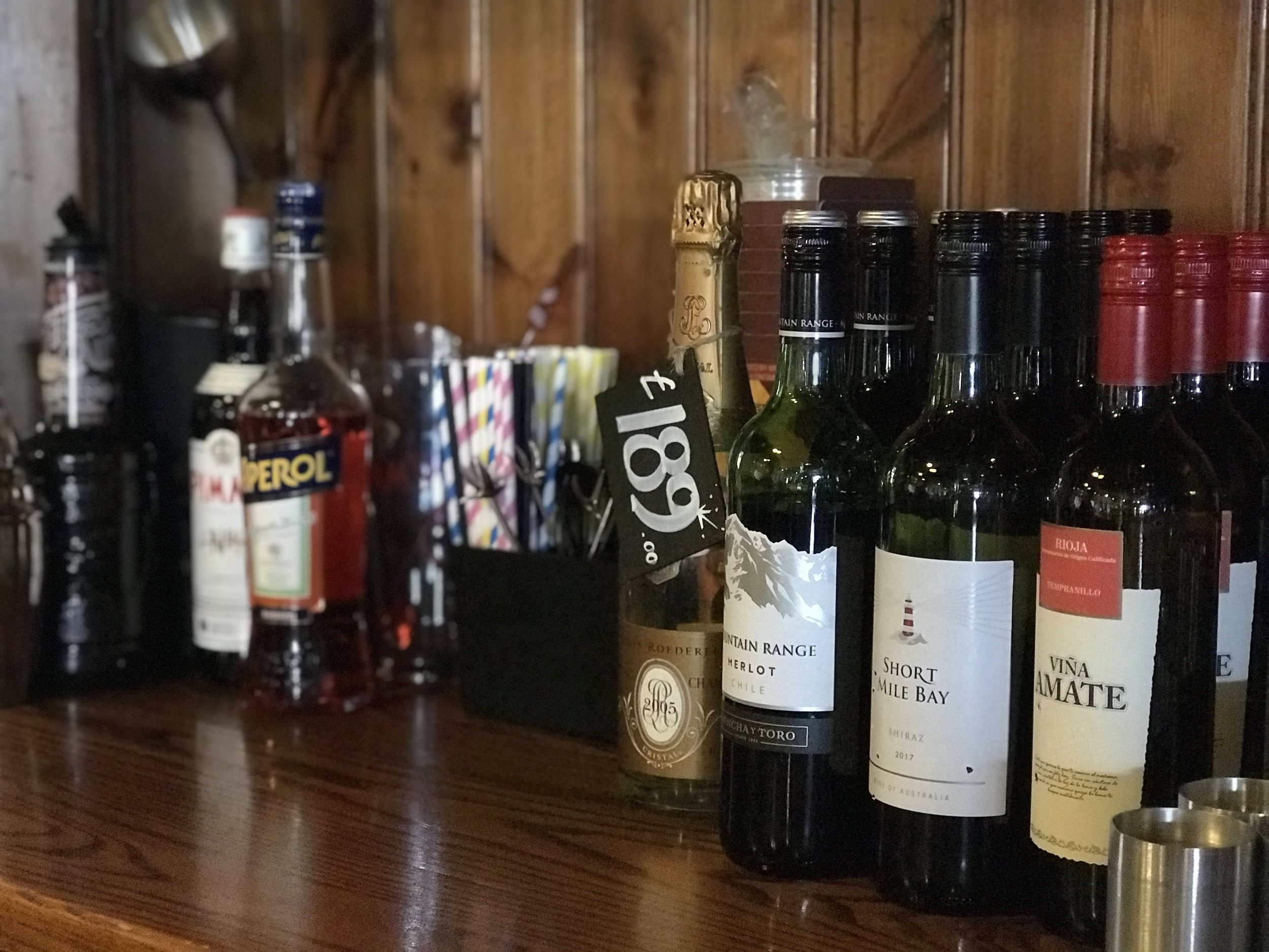 Wines by the glass and many more by the bottle
