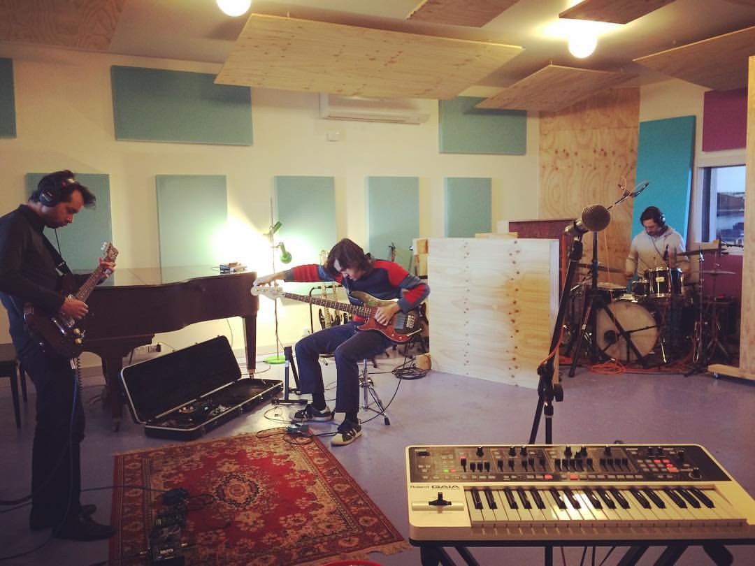 First day of recording at Phaedra Studios. From left to right Andrew Keese, Giles Fielke and Hugo Cran.