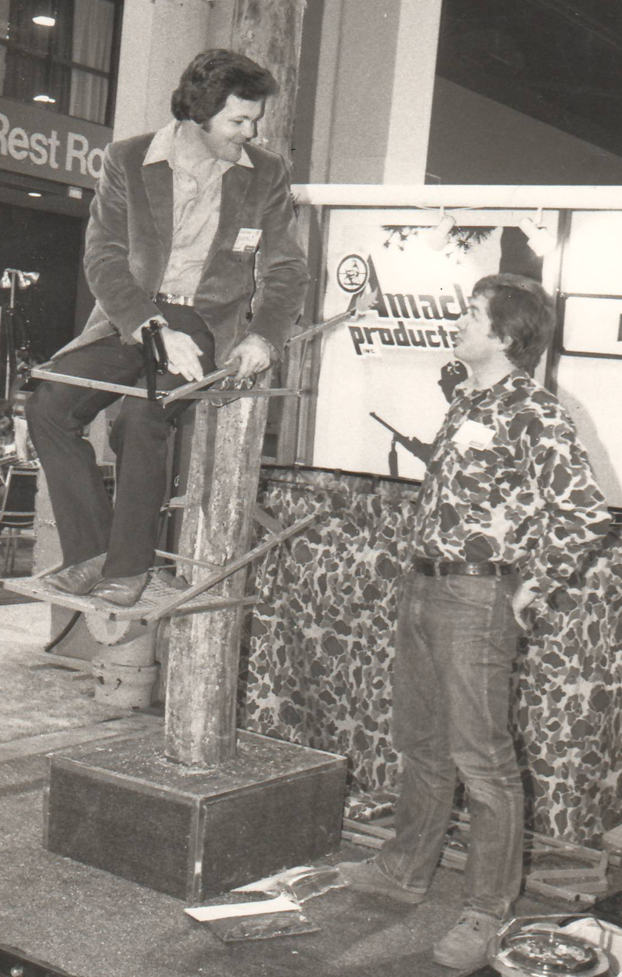 Paul Demonstrates his tree stand design at the very first NSSF Shot Show held in St. Louis, MO in 1979