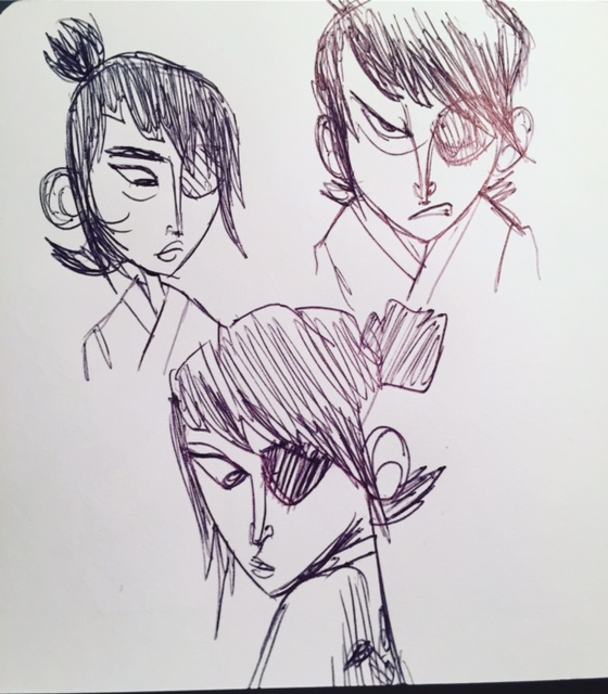My first sketches of Kubo's head. One looks like a girl and another looks too old. I had to keep trying!