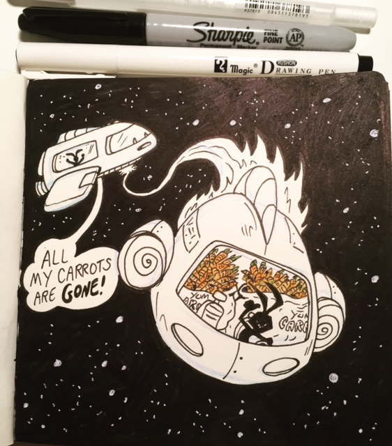 """""""In space, carrots are hard to come by. You must collect them when you can."""" -Ninja Space Bunny  Inktober day 3- COLLECT"""