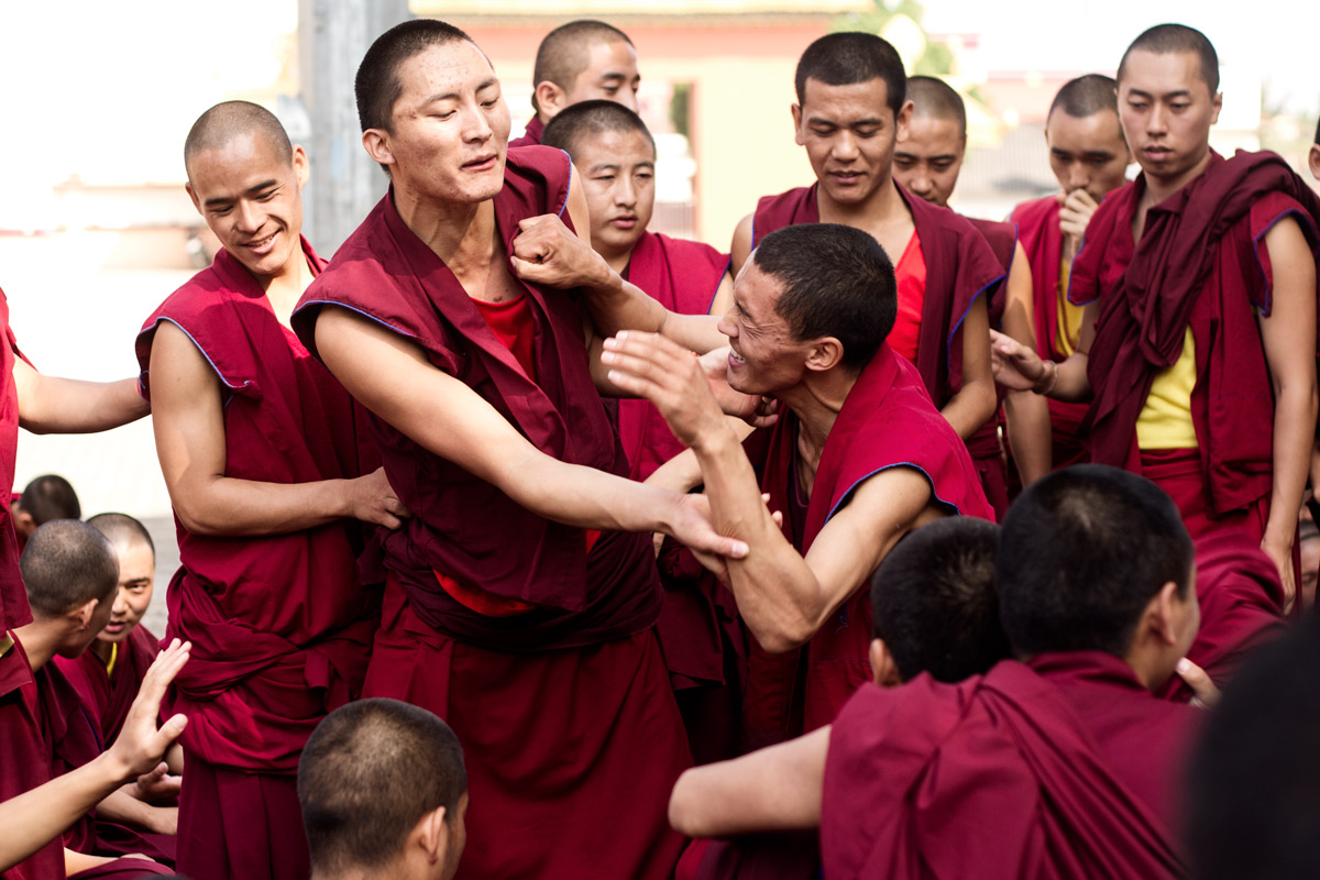 Verbal tussles may lead to physical brawls, while monks and nuns clap and stomp their feet chanting the answers to peace and love.