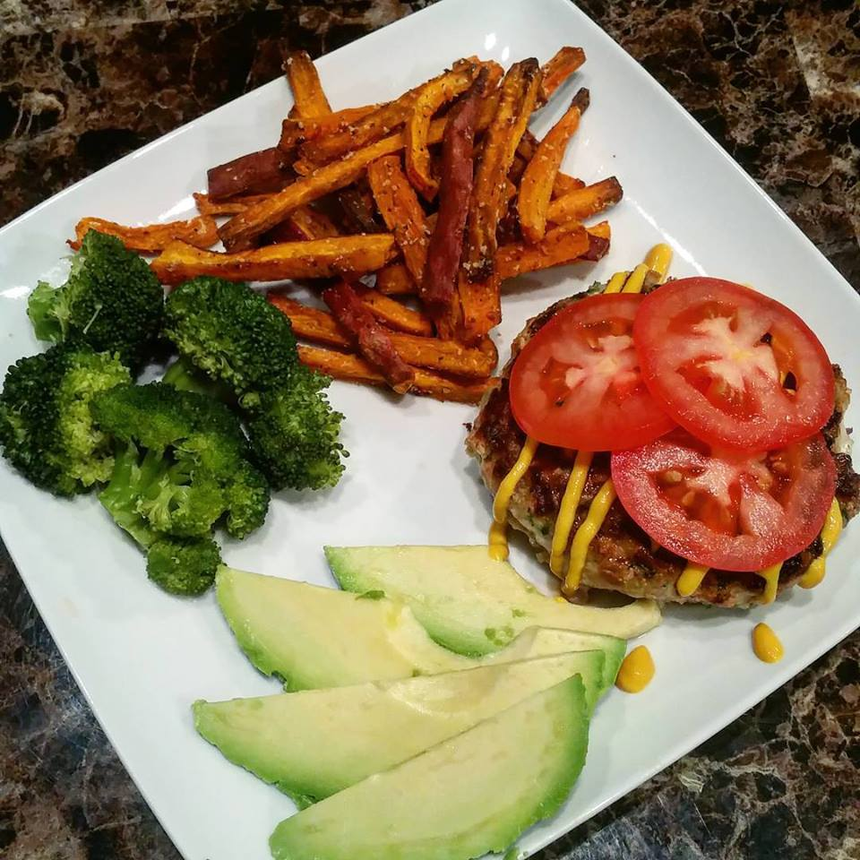 Friday's burger and fries! All clean and meal plan approved!