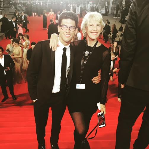 """My director and co-writer, KT Curran, and Iat the premiere of Korean Thriller, """"Office'."""