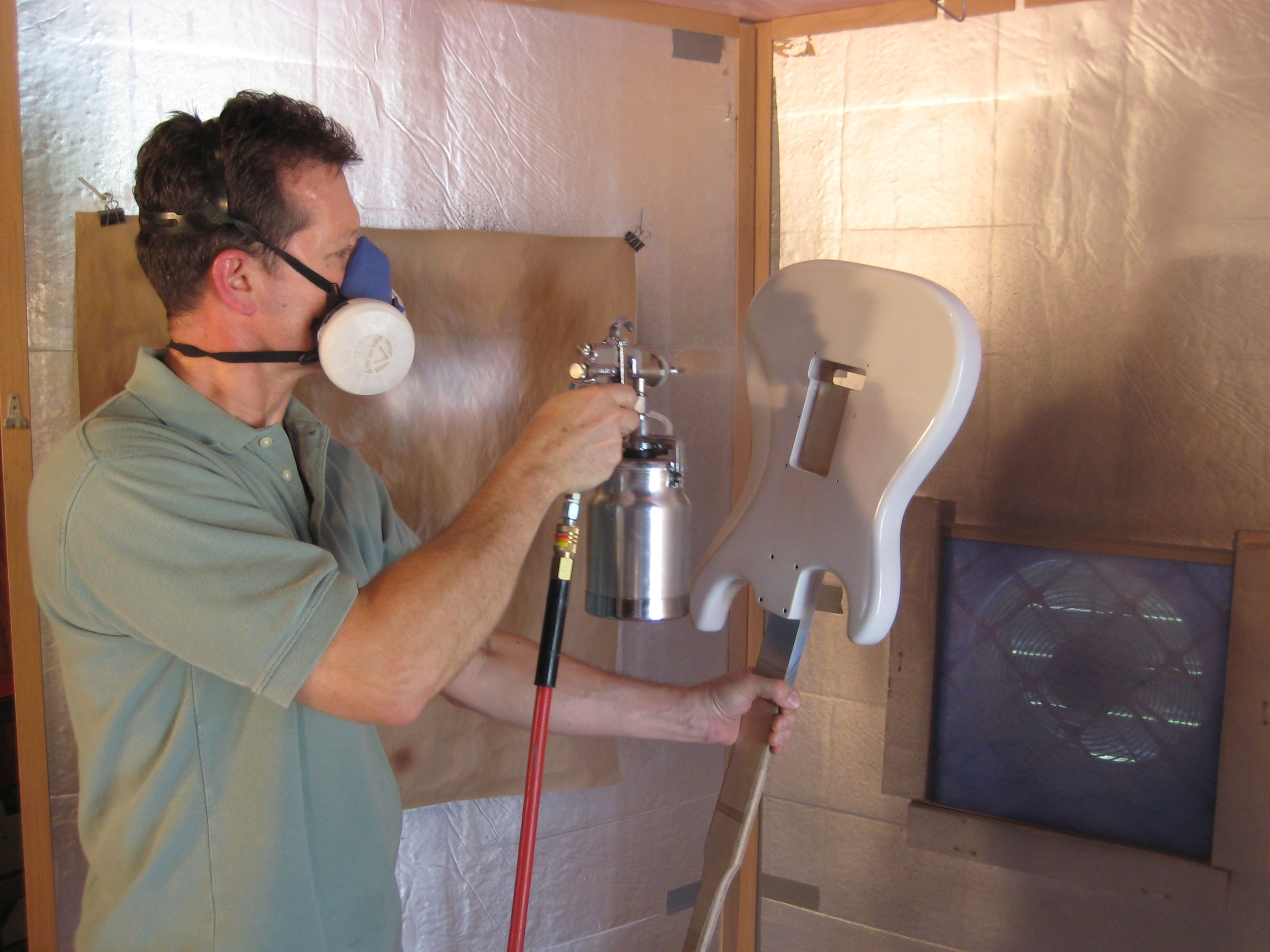 Terry demonstrates spraying techniques