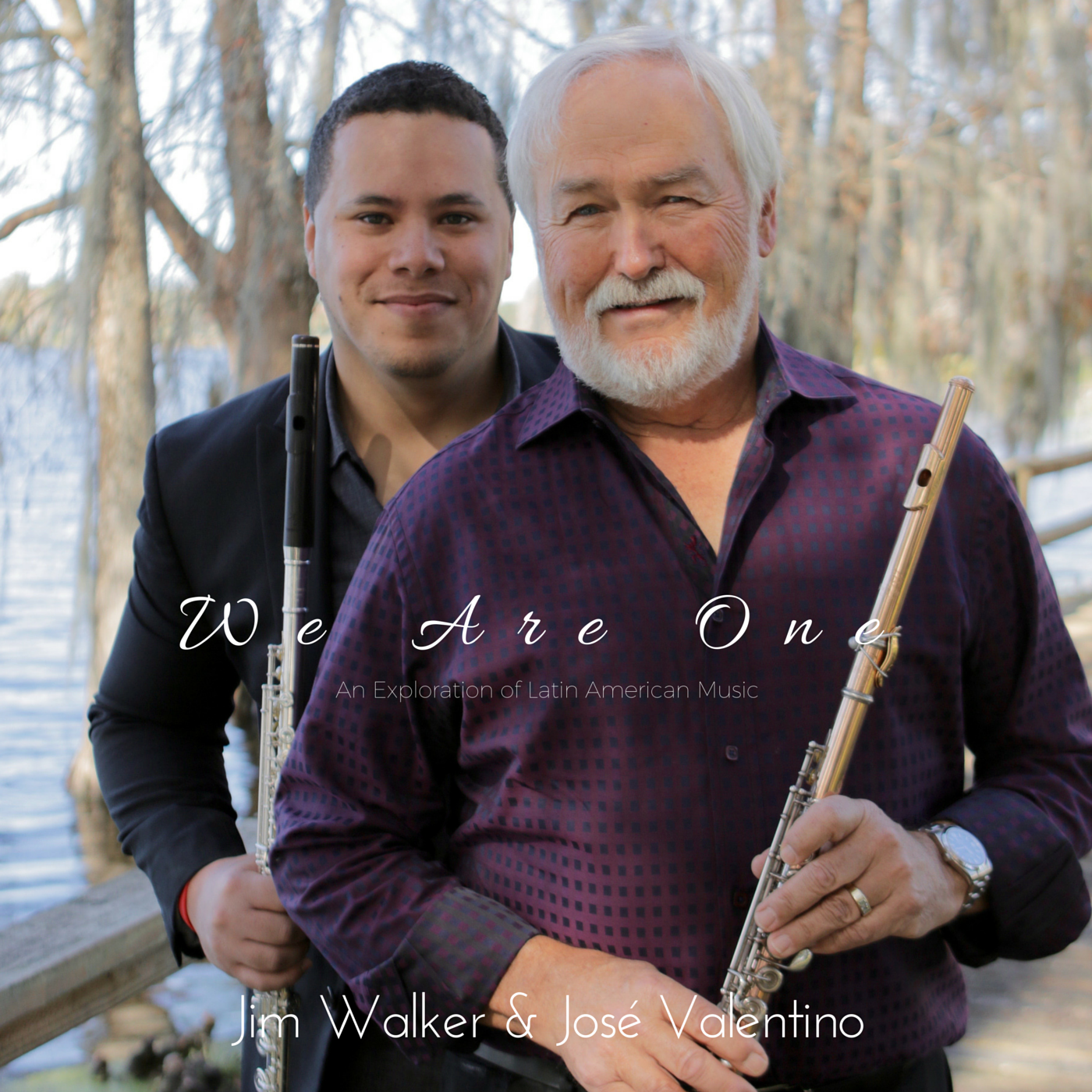 """Album Notes  Iconic flutist, Jim Walker, is internationally recognized for his extraordinary ability to perform virtually any musical context with poise, vibrancy, and authenticity. His credentials include: former Principal flutist for L.A. Philharmonic, 600+ films, participated on two Miles Davis albums, band leader of Free Flight (jazz/classical fusion band), professor of flute at the Coburn School and USC Thornton School of Music at University of Southern California. He travels all over the world inspiring and cultivating flutists to become multi-faceted musicians, to appreciate the vastness of music in cultures, and to propel the flute to new musical heights.  In 2013, Jim became intrigued with the vast richness of diversity existing among Latin American cultures and the unity that is present among them. His acquisition of learning about the plethora of folkloric rhythms and stylistic variances of flute playing in Latin-based genres ignited a burning passion to embark on a musical project that would (1) portray the beauty, diversity, and unity of Latin American cultures; (2) display the integration of Latin cultures with other cultural regions (i.e. U.S.A., Middle East, Ireland, West African), and; (3) expand the repertoire of flute music to provide opportunity for Classical flutists to learn and appreciate flute music in ethno-musical contexts. To make this project a reality, Jim Walker teamed up with Puerto Rican composer/producer/flutist, José Valentino, to create 15 exciting cross-cultural compositions that encompasses a musical celebration of 20+ cultures from around the world supplemented with the technical demand of Classical music, rhythmic prowess of Afro-Latin American drumming, improvisational spirit of Jazz music, tinges of Middle Eastern, Irish, and Chinese musical phrasings, and the enthusiasm of two generations colliding as one spirit! Thus, the project was completed in 2016 and appropriately entitled: """"We Are One: An Exploration of Latin American"""