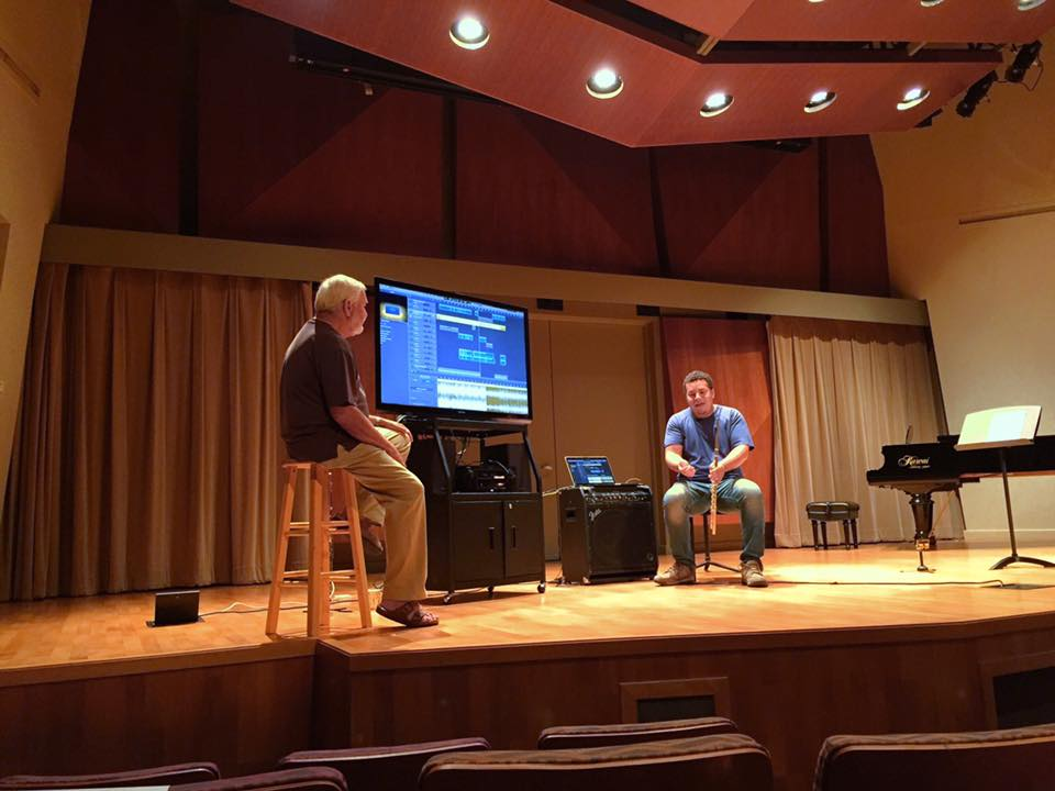 At the Colburn School, LA giving a masterclass with co-educator and Legendary flutist, Jim Walker. Discussing the benefits and simplicity of producing music with digital audio workstations - transforming a simple idea into a full-blown composition. Also, we discussed ways to take the product and develop your own brand!