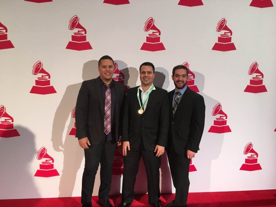 José Valentino (Mastering engineer, Musical Director, Co-Composer), Bruno Miranda (Main Artist, Co-Composer), and Jesse Pitts (Producer, Drummer) - MOSAICO Album. At the red carpet, 17th Annual Latin GRAMMY Awards.