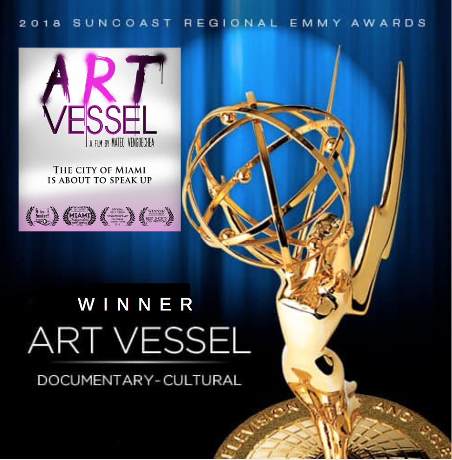 """'Art Vessel' chosen as Winner of the 2018 EMMY® Award for Best Cultural Documentary! - Jose Valentino served as a music producer and musician for the EMMY® Award-winning documentary, """"Art Vessel."""" His long-time collaborator, Eduardo 'Gualo' Jaramillo (guitarist, co-producer and co-audio engineer for Jose's numerous albums) served as the documentary's film scorer."""