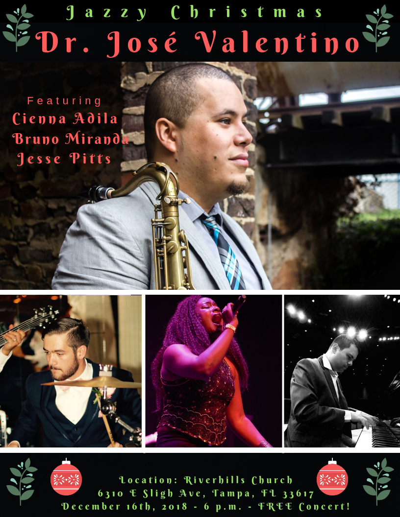 It's That Time Of The Year . . . ;-) - TAMPA BAY! I'm SO excited to be providing a Christmas concert on December 16th at 6:00 p.m. with some of my best friends (Cienna Alida, Bruno Miranda, and Jesse Pitts) who also happen to be some of the finest musicians of Tampa Bay and in the U.S.A. at Riverhills Church! :-) The concert is FREE. We'll be premiering our Latin jazz, Funk, and Bluesy arrangements of your favorite Christmas melodies along with a few classics. Aunt Greta Pitts will be running sound! We are going to dance, laugh, smile, and feel all warm and fuzzy! Don't miss it!SHARE the news.