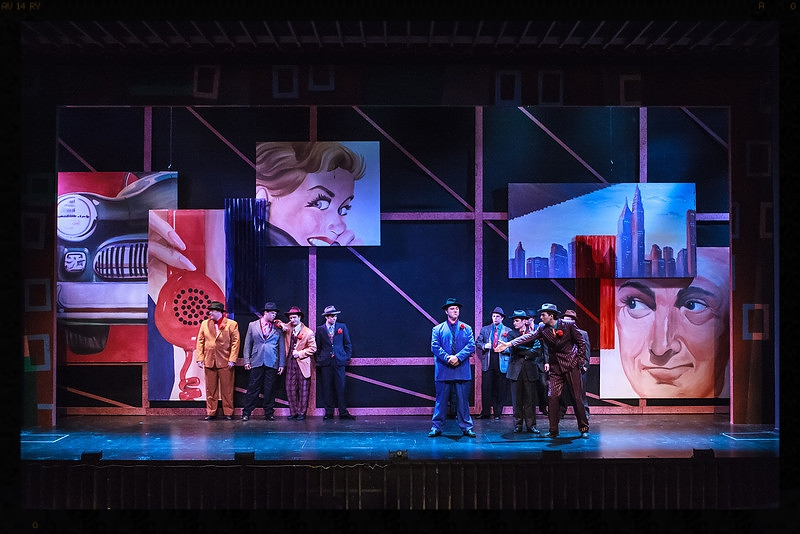 Ad boards for  Guys and Dolls  at Ohio Light Opera. Jessica worked on the car and the man. Set Design by Charles Murdock Lucas.