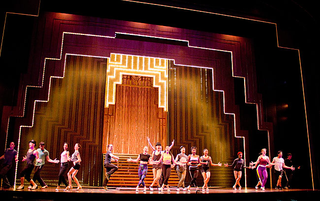 Striped metallic and glitter painted portals for  Paramour: Cirque du Soleil on Broadway.  Painted via Infinite Scenic, NJ.