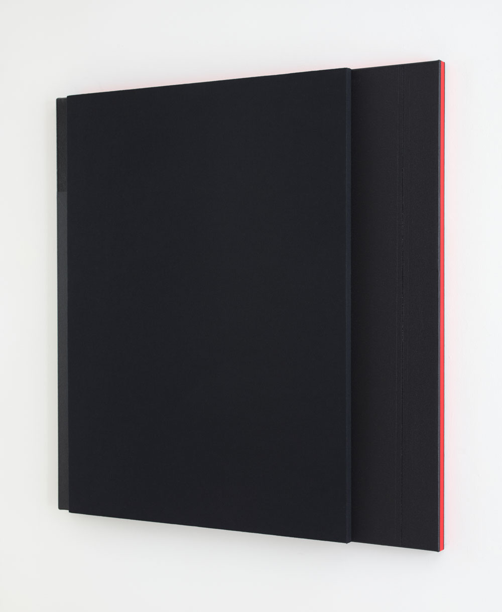 Deep Tone with Bold Double Bar Line, 2014 --Acoustic absorber panel and acrylic paint on canvas 48 x 48 inches