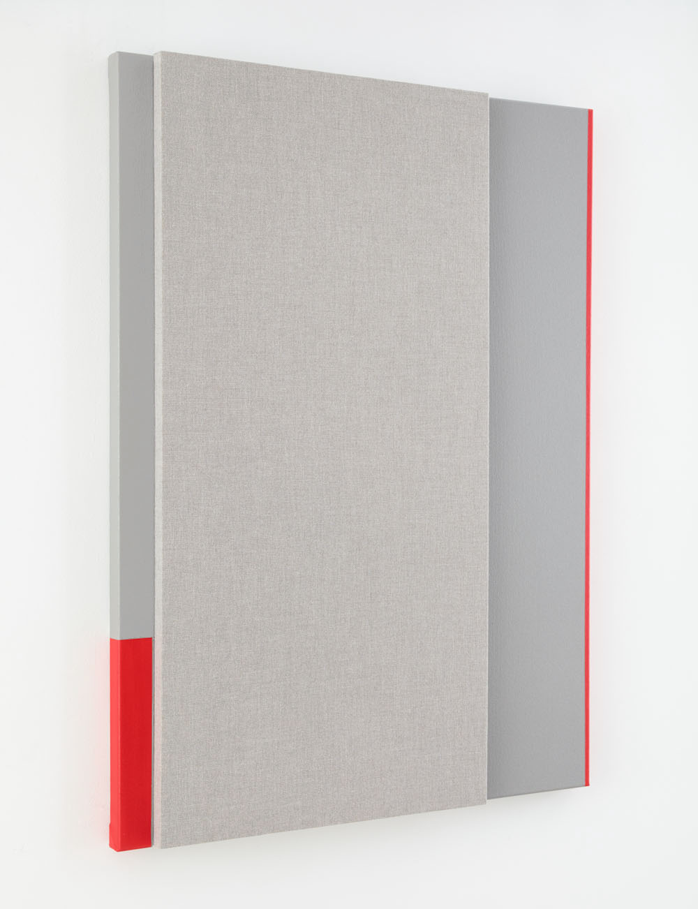 Quiet Gray with ¾ Red Reverberation --Acoustic absorber panel and acrylic paint on canvas 48 x 36 inches, 2014 : Collection of Arthur Lewis