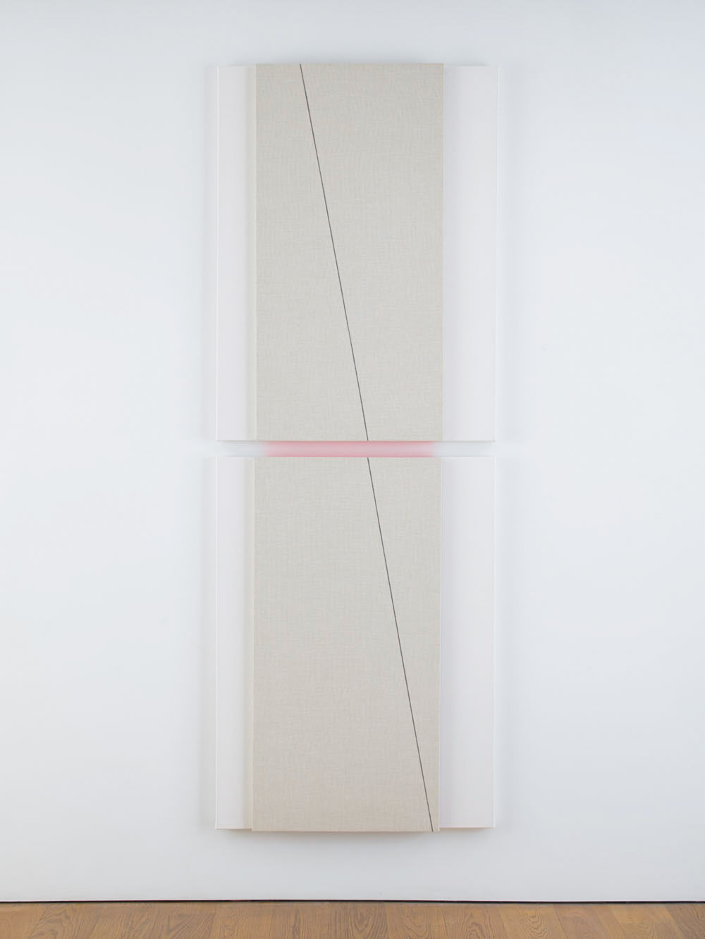 Vertical into Crescendo (light), 2014 --Acoustic absorber panel and acrylic paint on canvas 2 parts: 48 x 36 inches each, 98.25 x 36 inches overall