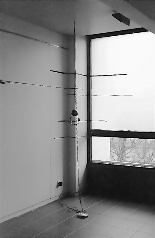 Slow Birds - site specific corner drawing and sound – gaffers tape, Discman soundpiece. Cite des Arts, Paris, France 2002