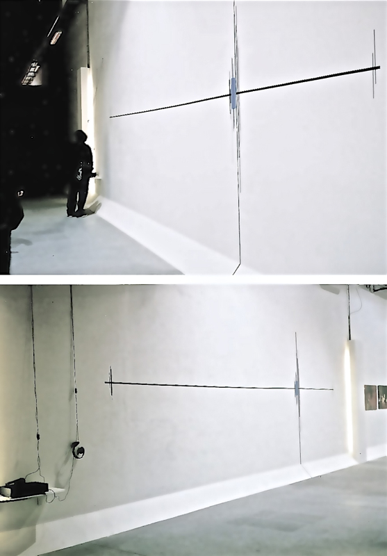 """All Blues -- wall drawing gaffers tape, sound piece indexing blues song titles from""""Reading Lyrics"""" Fabrica Milano, Italy 2003"""