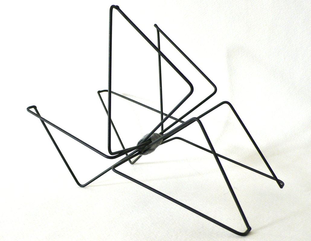 Spider Trio for Louise, CD wall racks, copper wire and felt, 4 x 6 x 6 in. 2008