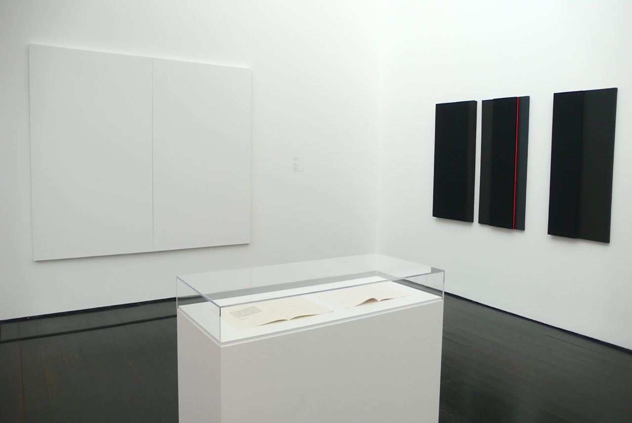 Kitchen works included in the SILENCE exhibition at The Menil Collection, Houston TX. Shown with  Robert Rauschenberg  ('White Paintings' left) and  John Cages  (4'33 Score under glass) 2012