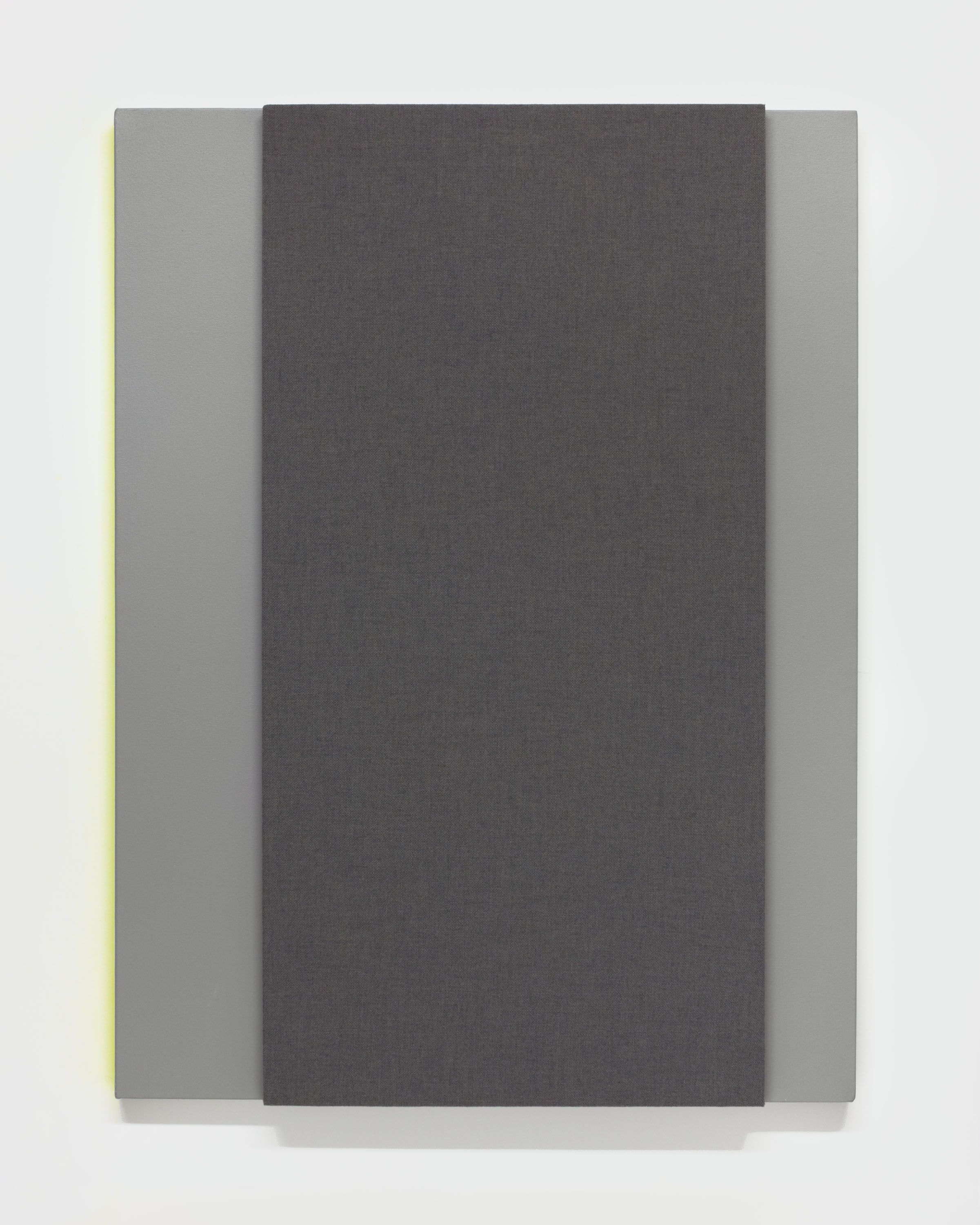 Dark Gray with Left Resonance, 2014--Acoustic absorber panel and acrylic paint on canvas, 36 x 48 inches each