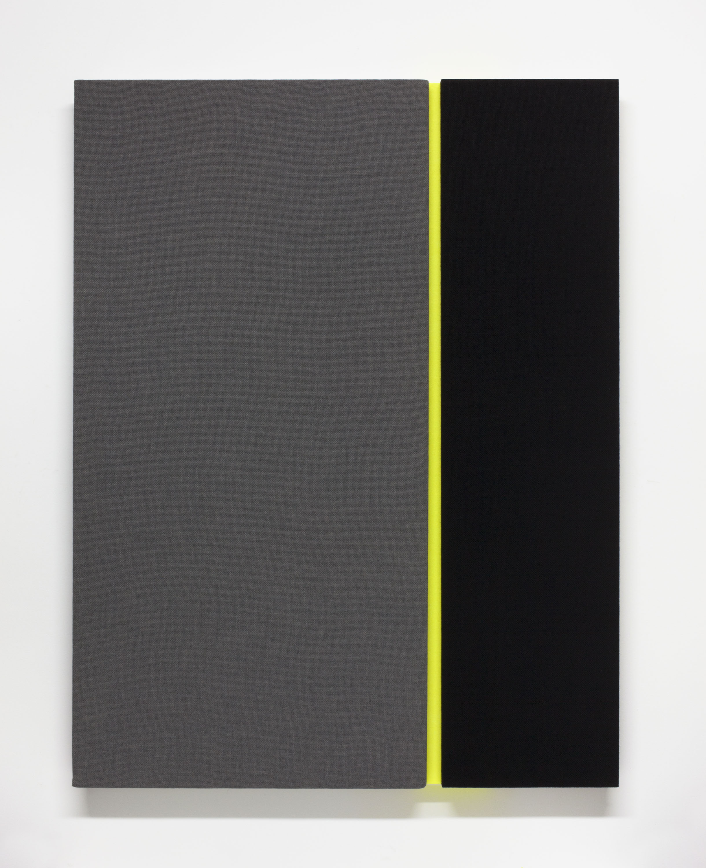 Bold, Double, Barline (variation #1)Acoustic absorber panel and acrylic paint on canvas, 36 x 48 inches, 2013.