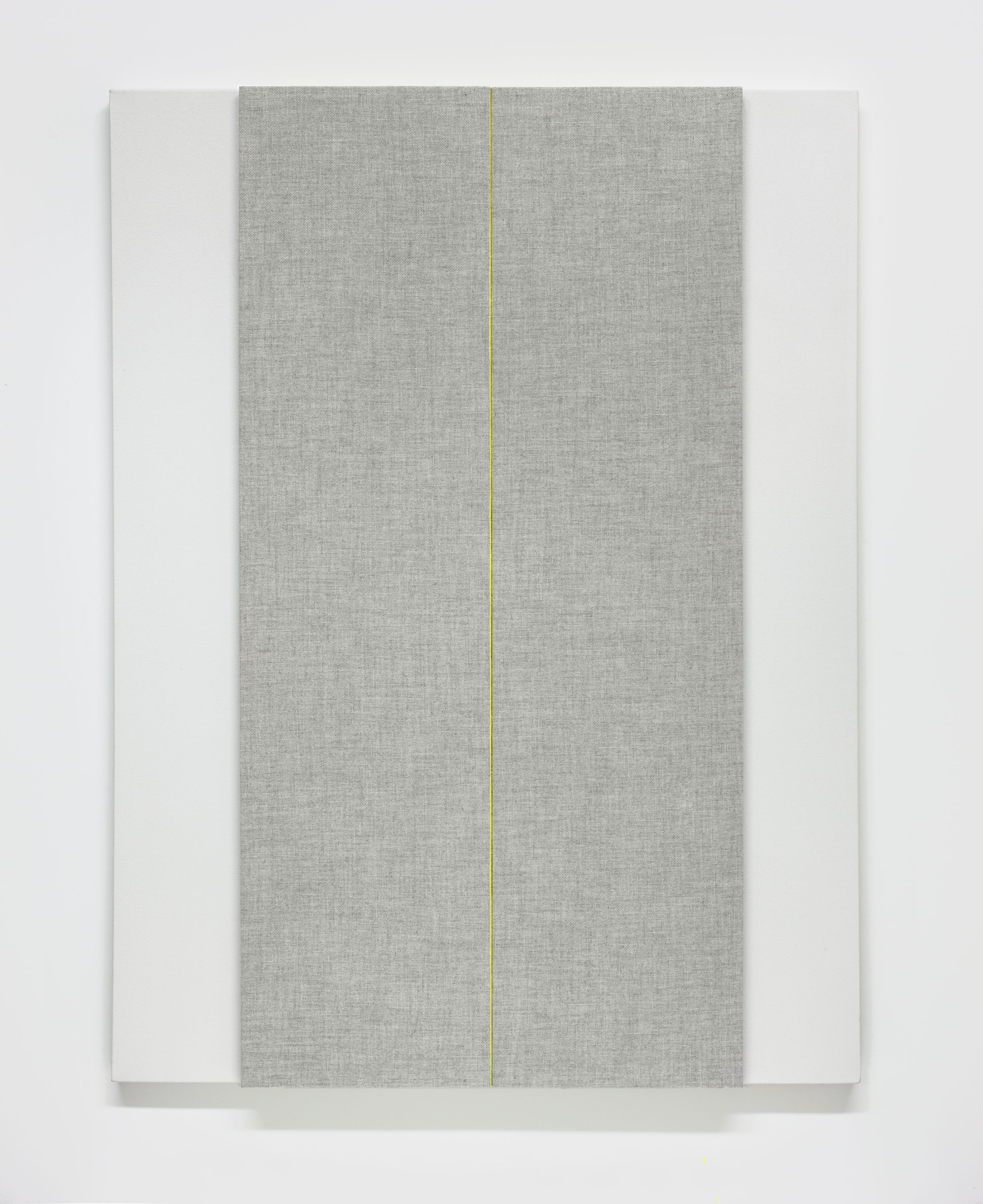 Light Gray with Middle C (variation #2)--Acoustic absorber panel and acrylic paint on canvas, 36 x 48 inches, 2013.