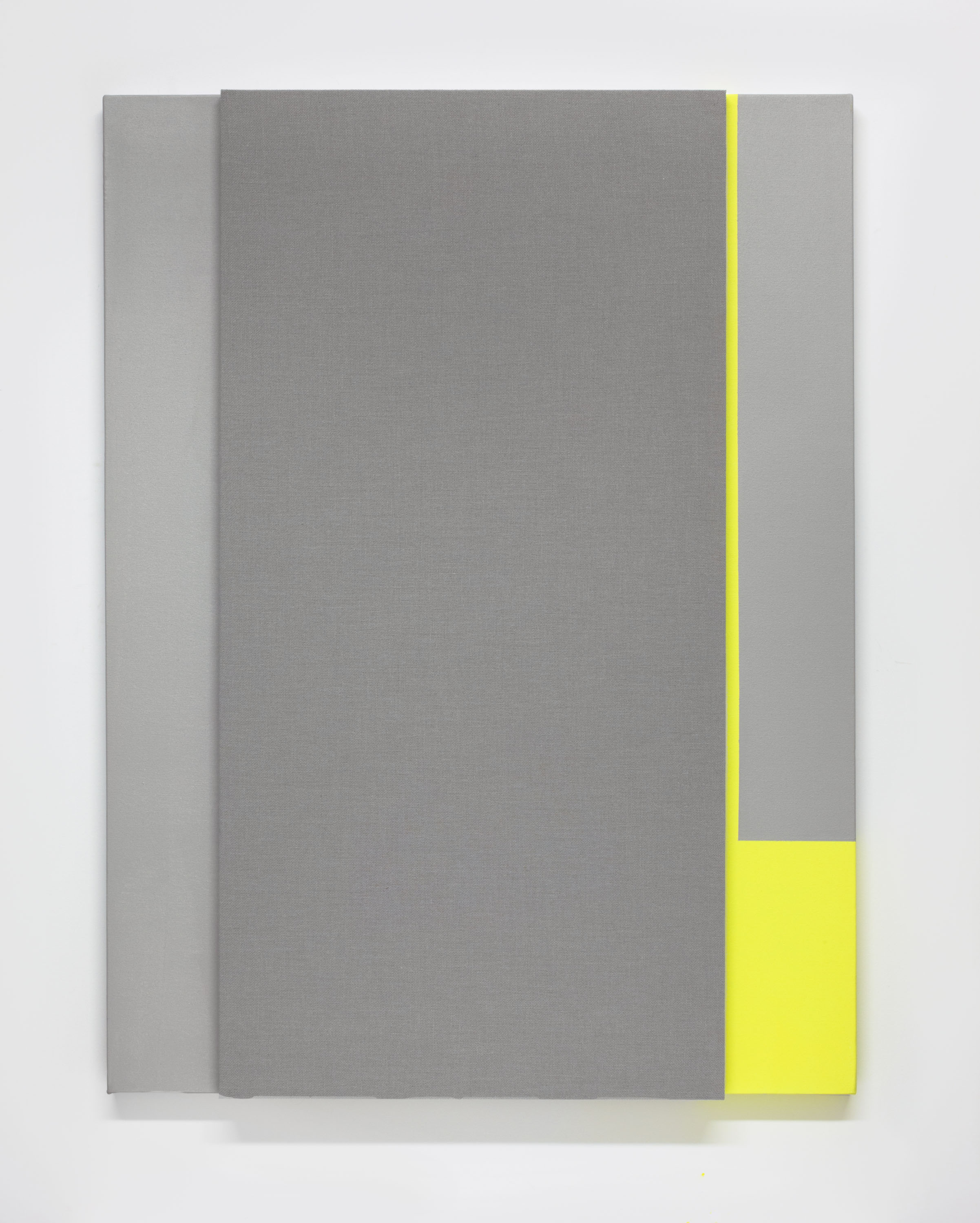 Soft Gray Tone with Reverberation #2--Acoustic absorber panel and acrylic paint on canvas, 36 x 48 inches each, 2013.