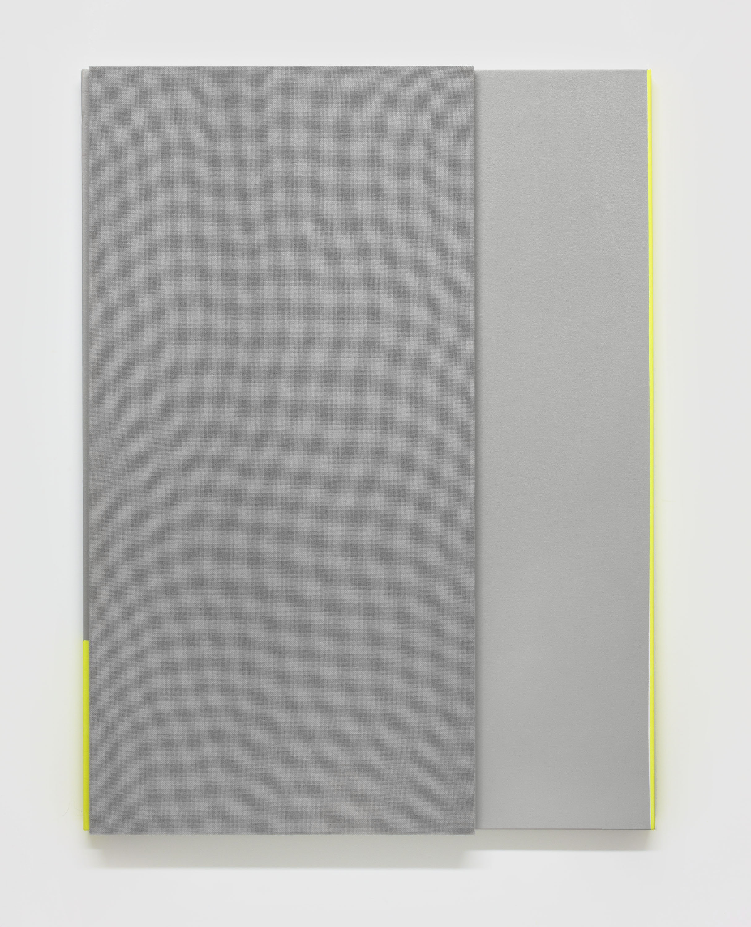 Soft Gray Tone with Reverberation #2 --Acoustic absorber panel and acrylic paint on canvas, 36 x 48 inches each, 2013.
