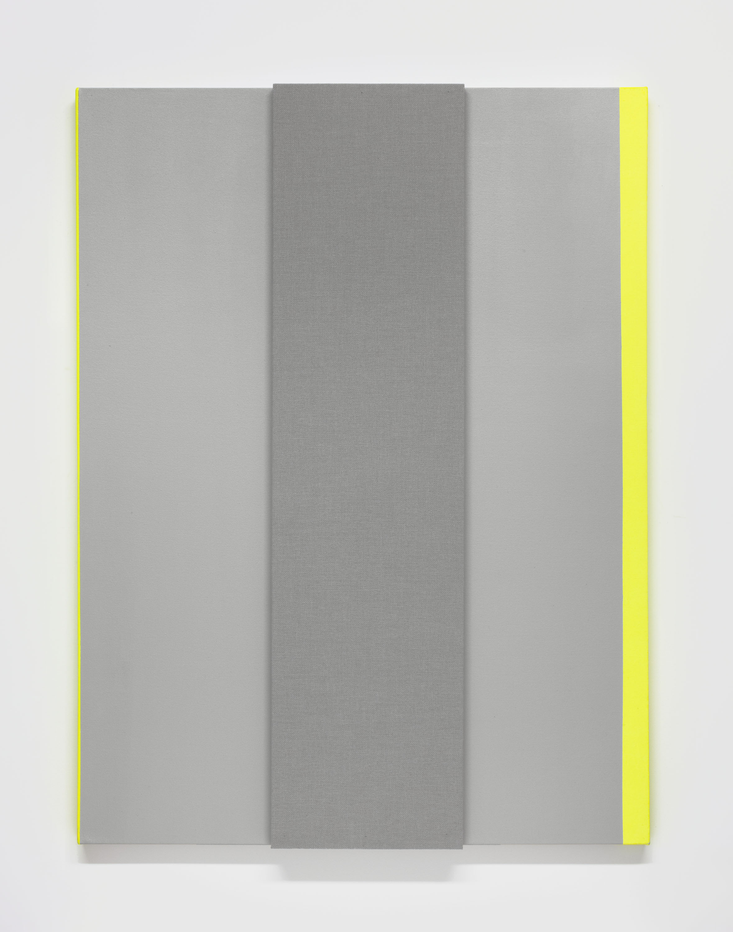 Light Gray with Bright Note #1 --Acoustic absorber panel and acrylic paint on canvas, 36 x 48 inches each, 2013.