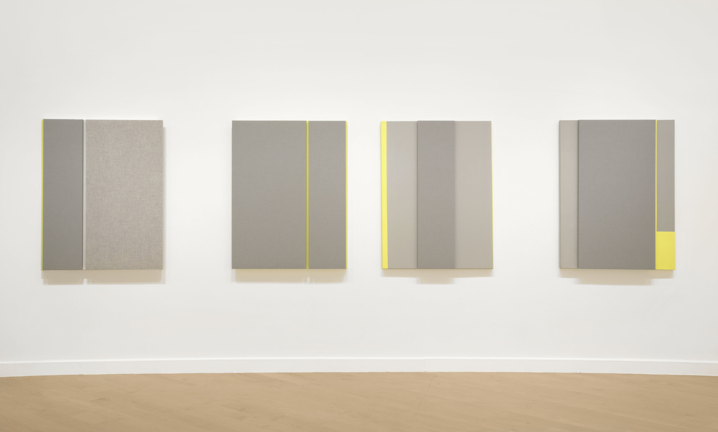 Soft Gray Tone with Reverberation #1-4,Acoustic absorber panel and acrylic paint on canvas, 36 x 48 inches each, 2013.
