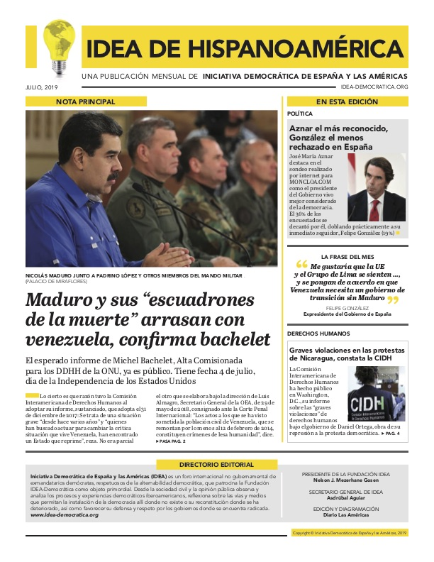 - El esperado informe de Michel Bachelet, Alta Comisionada para los DDHH de la ONU, ya es público. Tiene fecha 4 de julio, día de la Independencia de los Estados Unidos