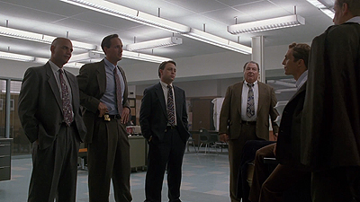 The three detectives on the task force: ( from the left ) Mark Daughtry (Jackson Beals), Ted Bertrand (Jim Klock), and Jimmy Dufrene (Garrett Kruithof)