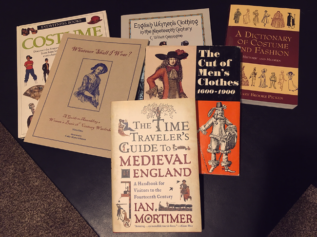 Just a few of the books I used for research. I liked them so much I bought my own copies!