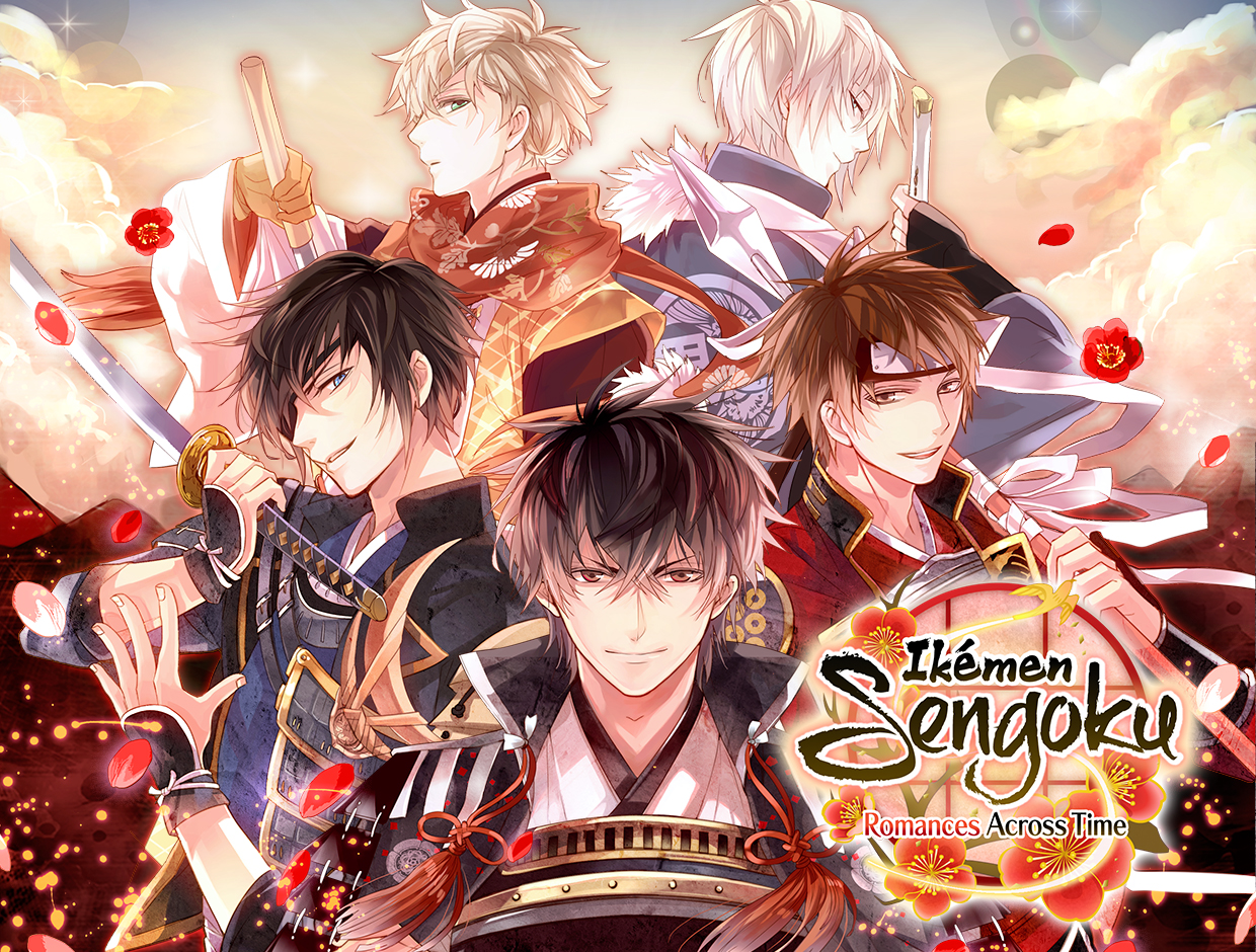 This title card for  Ikémen Sengoku  features five of the Sengoku period's most famous warlords.