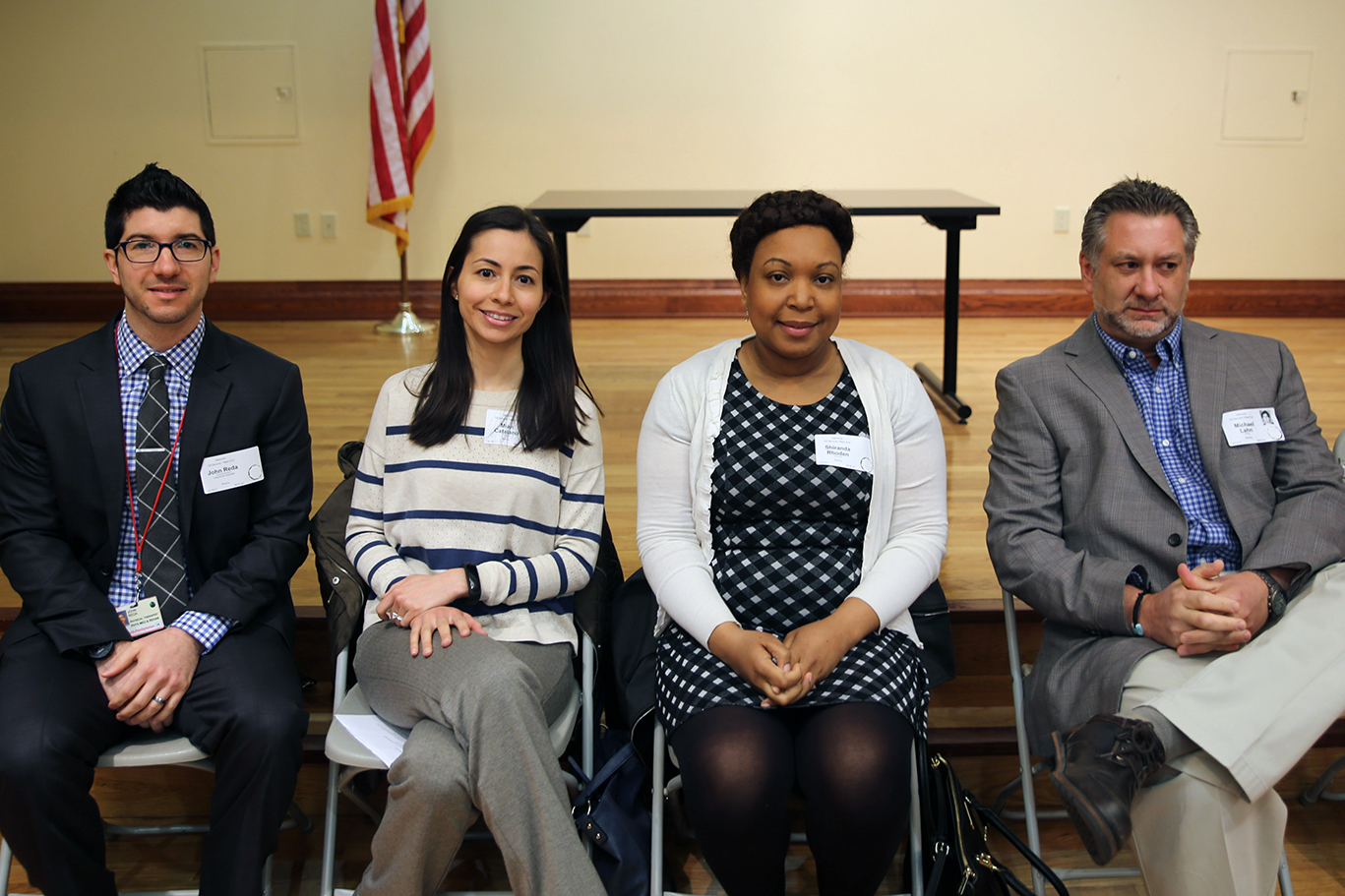 Expert panelists, from left to right: John Reda, Physical Therapist, Mian Catalano, Registered Dietician,,Shiranda Rhodes, Surgical Physician's Assistant and ER Physician, Michael Lahn, MD.  Photo by Deborah Karson