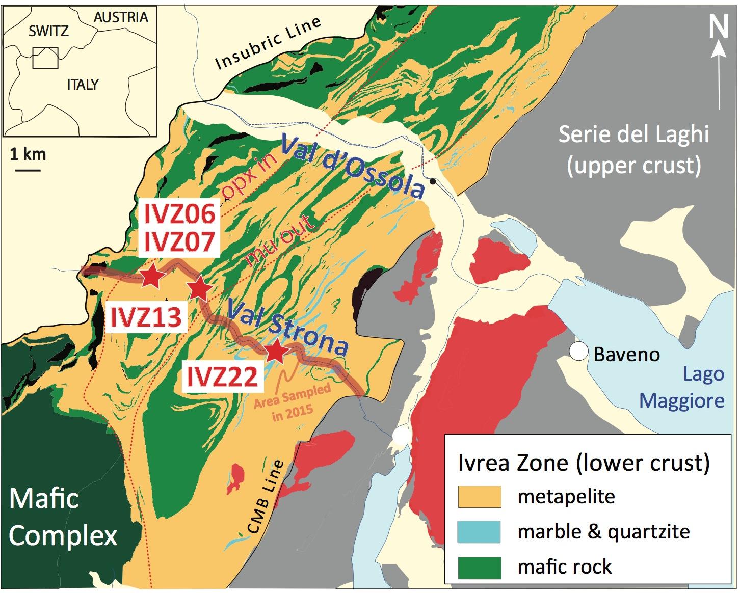 Geological map of the Ivrea-Verbano Zone (after Brack et al 2010)