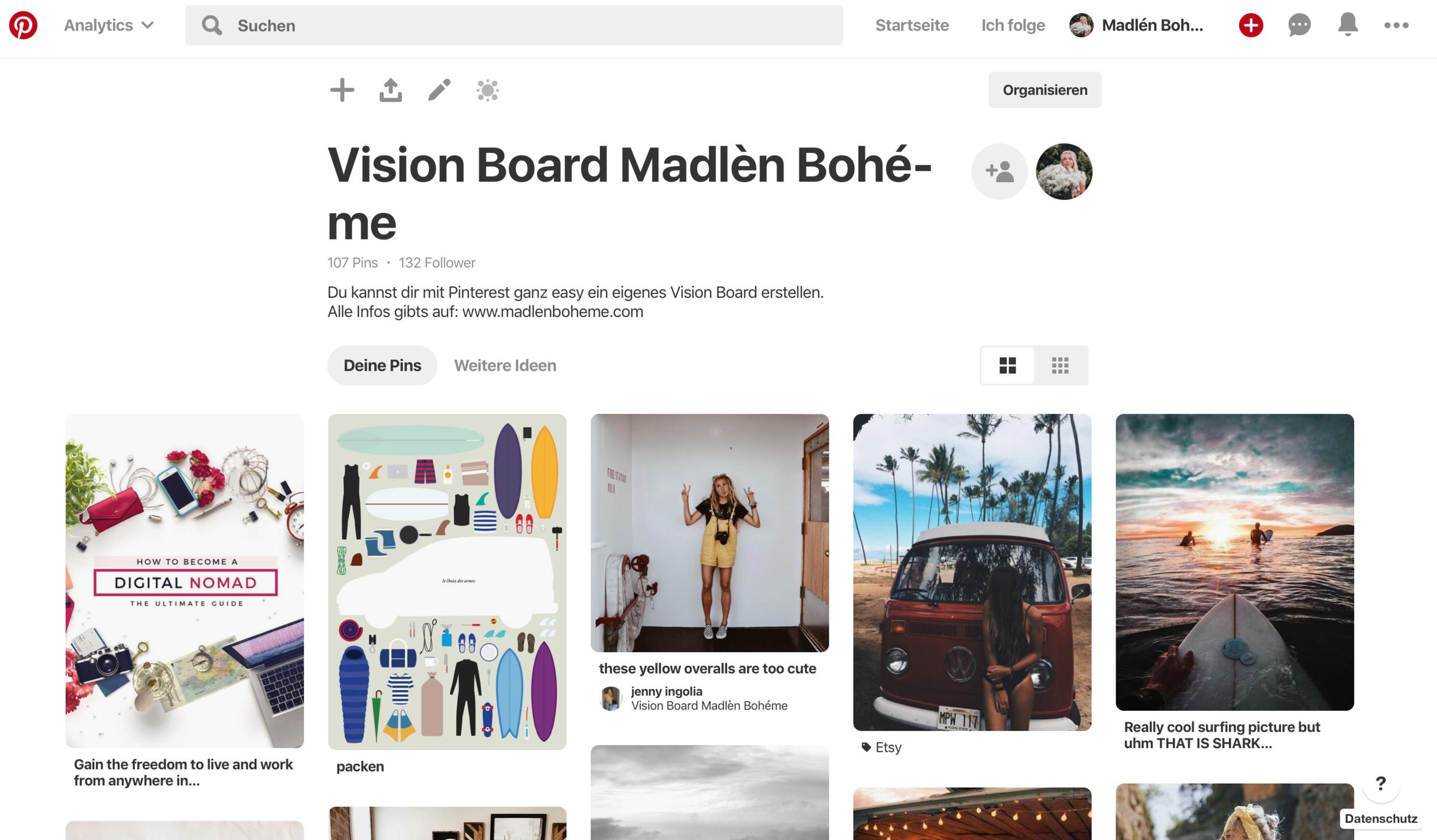 Vision Board Pinterest Madlen Boheme