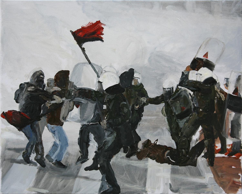 Mona Vatamanu & Florin Tudor   The Riot Series (#1) , 2009 oil on canvas 15.75 x 19.69 inches 40 x 50 cm