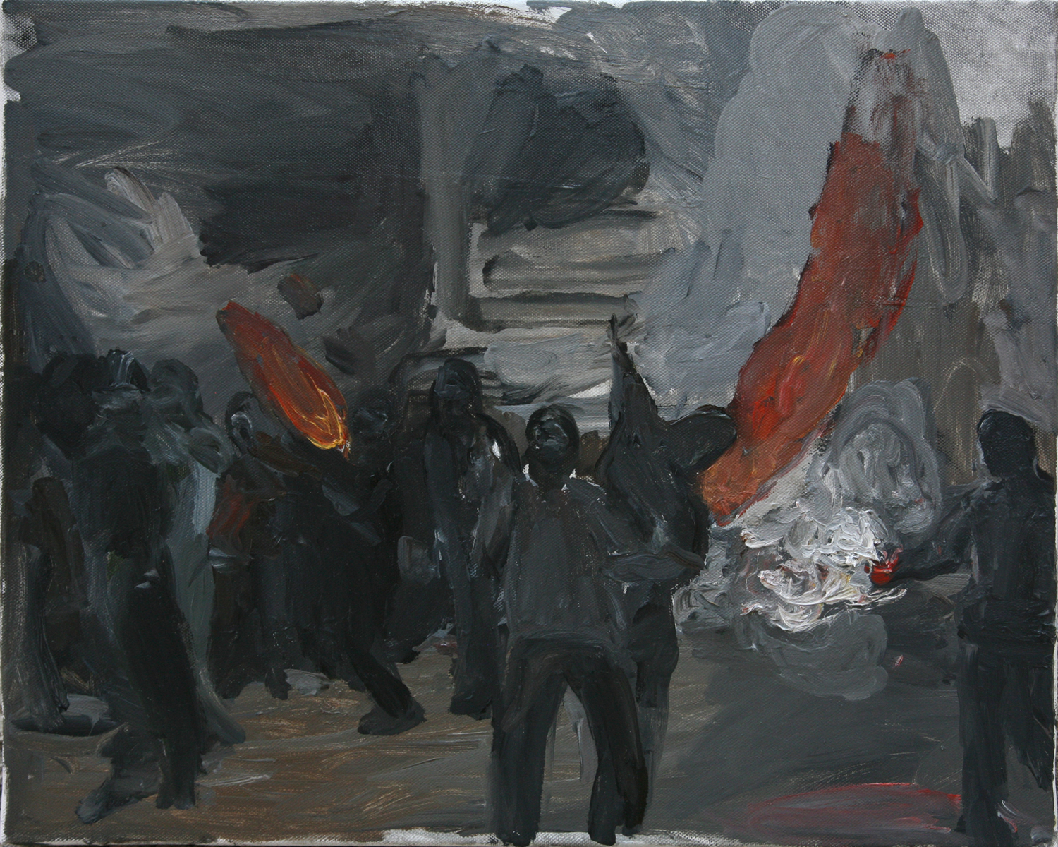 Mona Vatamanu & Florin Tudor   The Riot Series (#2) , 2009 oil on canvas 15.75 x 19.69 inches 40 x 50 cm