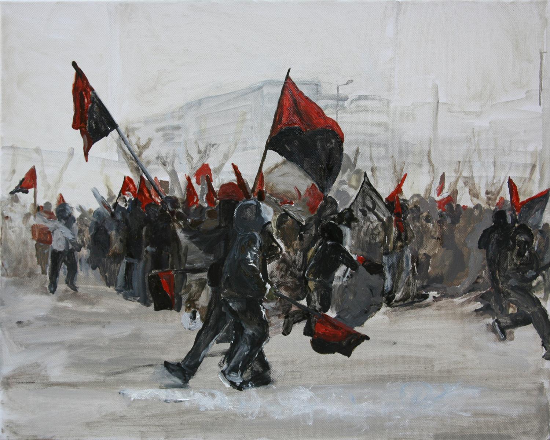 Mona Vatamanu & Florin Tudor   The Riot Series (#4) , 2009 oil on canvas 15.75 x 19.69 inches 40 x 50 cm